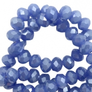 Facet kralen top quality disc 4x3 mm Clematis blue-pearl shine coating