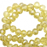 Facet kralen top quality disc 6x4 mm Light yellow-pearl shine coating