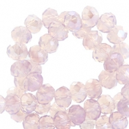 Facet kralen top quality disc 8x6 mm Lavender lila-pearl shine coating