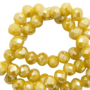 Facet kralen top quality disc 4x3 mm Mustard yellow-pearl shine coating