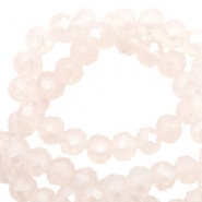 Facet kralen top quality disc 6x4 mm Light rose pink opal-pearl shine coating