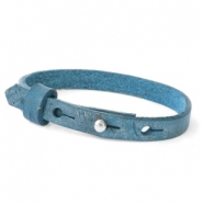 Cuoio armband voor kids 8mm voor 12mm cabochon Navy peony blue