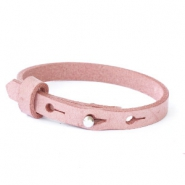 Cuoio armband voor kids 8mm voor 12mm cabochon Soft misty rose