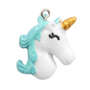 Hangers van resin unicorn White-turquoise