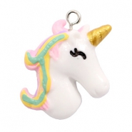 Hangers van resin unicorn White-rainbow