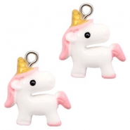 Hangers van resin unicorn White-light pink