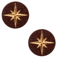 Cabochons hout ster 12mm Dark brown