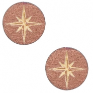 Cabochons hout ster 12mm Rosegold