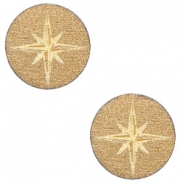 Cabochons hout ster 12mm Gold