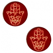 Cabochons hout Hamsa hand 12mm Dark red