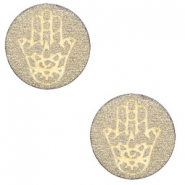 Cabochons hout Hamsa hand 12mm Pearl gold