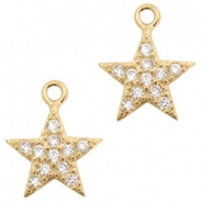Basic quality metaal strass bedel star Goud