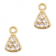 Basic Quality metaal strass bedel triangle Goud