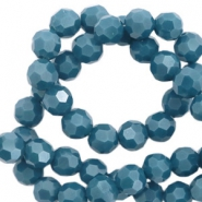 Facet kralen top quality rond 6 mm Dark mosaic blue-pearl shine coating