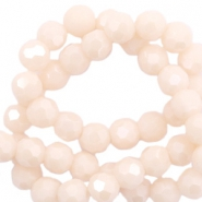 Facet kralen top quality rond 6 mm Beige nude peach-pearl shine coating