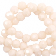 Facet kralen top quality rond 4 mm Beige nude peach-pearl shine coating