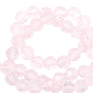 Facet kralen top quality rond 8 mm Crystal light pink-pearl shine coating