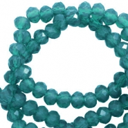 Facet kralen top quality disc 3x2 mm Teal green-pearl shine coating