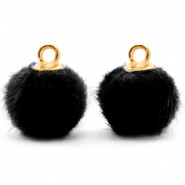 Bedels pompom met oog faux fur 12mm Black-gold