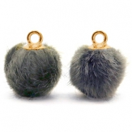 Bedels pompom met oog faux fur 12mm Dark grey-gold