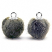 Bedels pompom met oog faux fur 12mm Dark grey-silver