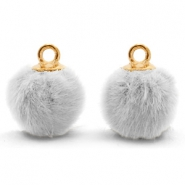 Bedels pompom met oog faux fur 12mm Light grey-gold