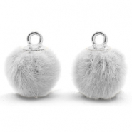 Bedels pompom met oog faux fur 12mm Light grey-silver