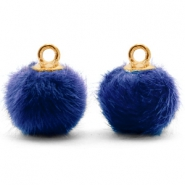 Bedels pompom met oog faux fur 12mm Denim blue-gold