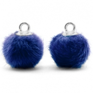 Bedels pompom met oog faux fur 12mm Denim blue-silver