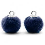 Bedels pompom met oog faux fur 12mm Dark blue-silver