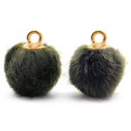 Bedels pompom met oog faux fur 12mm Olive grey-gold