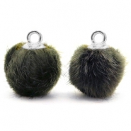 Bedels pompom met oog faux fur 12mm Olive grey-silver