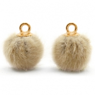 Bedels pompom met oog faux fur 12mm Taupe brown-gold