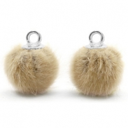 Bedels pompom met oog faux fur 12mm Taupe brown-silver