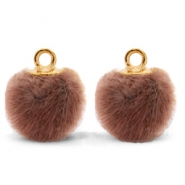 Bedels pompom met oog faux fur 12mm Red brown-gold