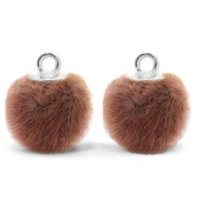 Bedels pompom met oog faux fur 12mm Red brown-silver