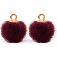Bedels pompom met oog faux fur 12mm Port purple red-gold