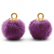 Bedels pompom met oog faux fur 12mm Purple-gold