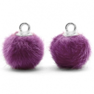 Bedels pompom met oog faux fur 12mm Purple-silver
