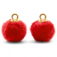 Bedels pompom met oog faux fur 12mm Siam red-gold
