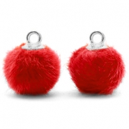 Bedels pompom met oog faux fur 12mm Siam red-silver