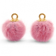 Bedels pompom met oog faux fur 12mm Vintage dark pink-gold