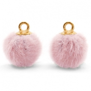Bedels pompom met oog faux fur 12mm Vintage pink-gold