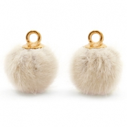 Bedels pompom met oog faux fur 12mm Sand beige-gold