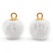 Bedels pompom met oog faux fur 12mm White-gold