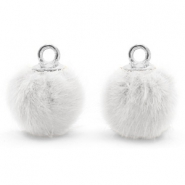 Bedels pompom met oog faux fur 12mm White-silver