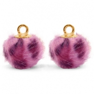 Bedels pompom met oog faux fur leopard 12mm Purple pink-gold