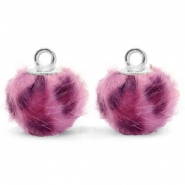 Bedels pompom met oog faux fur leopard 12mm Purple pink-silver