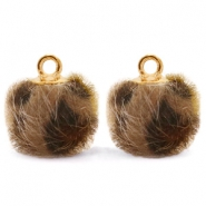 Bedels pompom met oog faux fur leopard 12mm Chocolate brown-gold