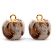 Bedels pompom met oog faux fur leopard 12mm Taupe brown-gold